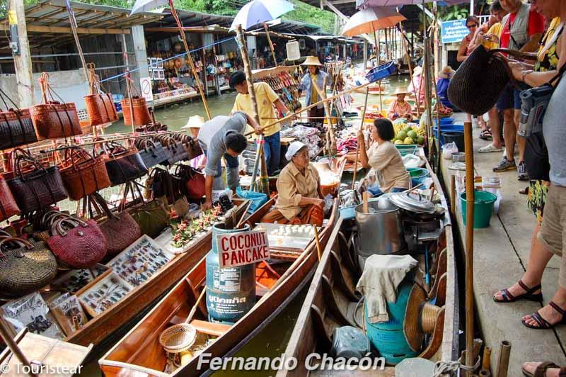 Tailandia, tienda flotante, mercado de amphawa