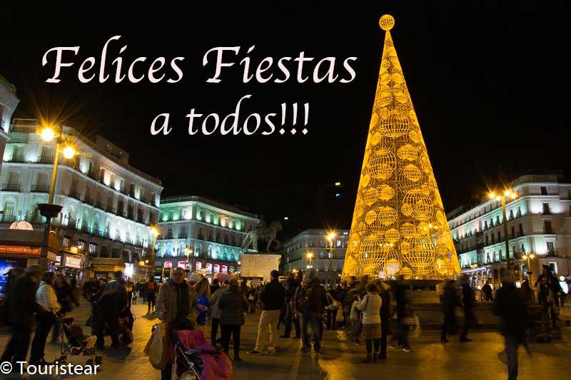 Puerta del Sol en nochevieja, Madrid.