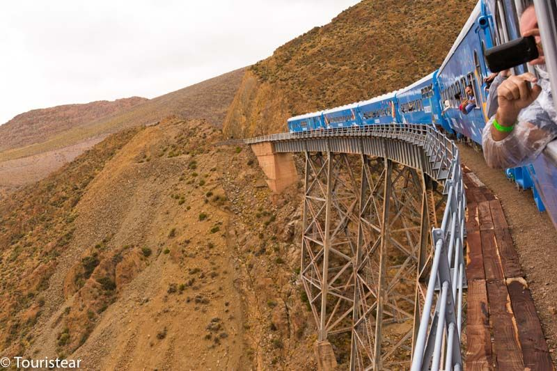 The train to the clouds, over the Polvorilla viaduct, in the province of Salta, Argentina