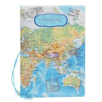 cartera para pasaporte mapamundi