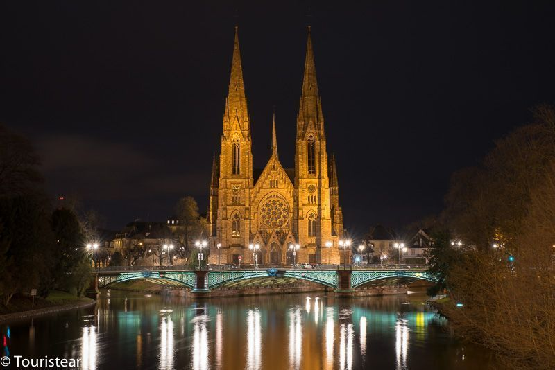 St Paul's Church, at night, Strasbourg, France