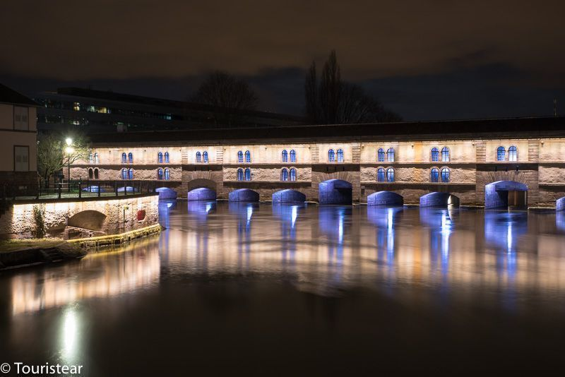 The covered bridges of Strasbourg's Petite France at night