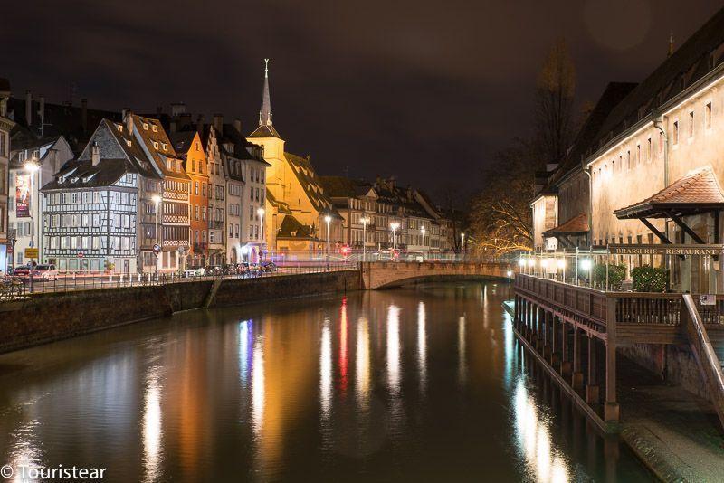 Ribera del Ill, Strasbourg, France, at night