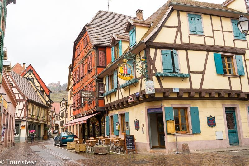 RIBEAUVILLE, drive through the Alsace, typical half-timbered houses, France