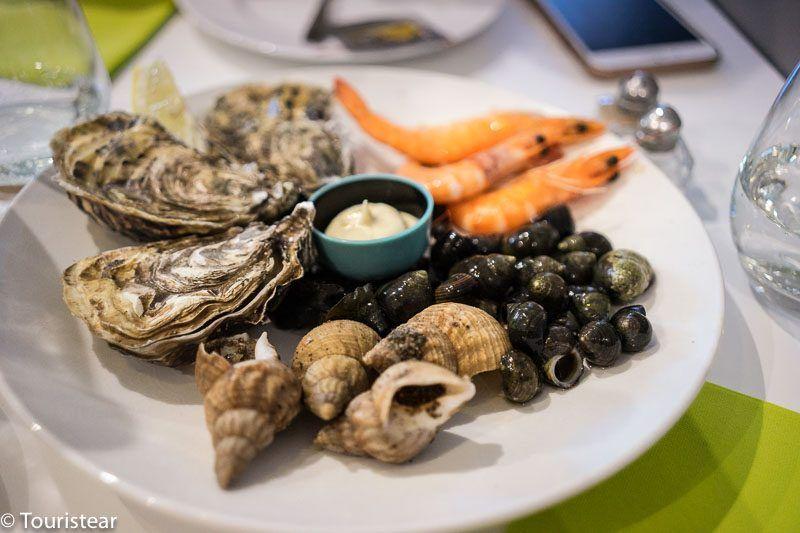 Fruit de mer en Doelan, Sur de Bretagne, Francia