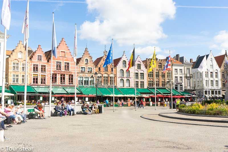 Grote Markt of Bruges, medieval houses of the guilds, Belgium