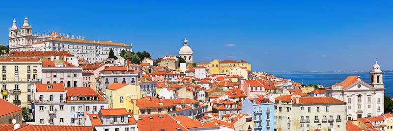 a day in Lisbon, panoramic view of the city from one of its viewpoints