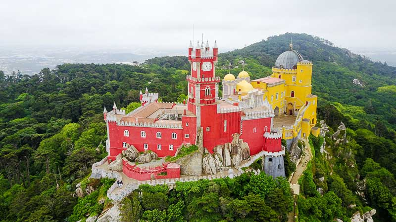 Aerial view of Sintra, visits in surroundings Lisbon