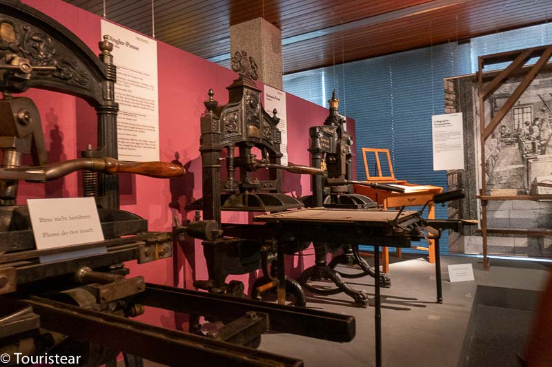 printing presses at the Gutenberg museum in Mainz